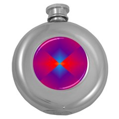 Geometric Blue Violet Red Gradient Round Hip Flask (5 Oz)