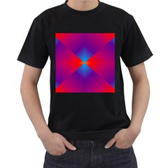 Geometric Blue Violet Red Gradient Men s T Shirt (black)