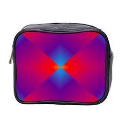 Geometric Blue Violet Red Gradient Mini Toiletries Bag 2 Side