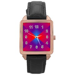 Geometric Blue Violet Red Gradient Rose Gold Leather Watch