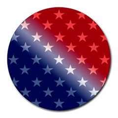 America Patriotic Red White Blue Round Mousepads