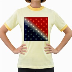 America Patriotic Red White Blue Women s Fitted Ringer T Shirts