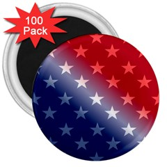 America Patriotic Red White Blue 3  Magnets (100 Pack)