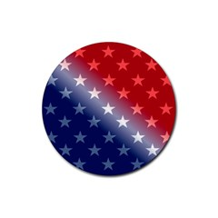 America Patriotic Red White Blue Rubber Round Coaster (4 Pack)