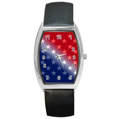 America Patriotic Red White Blue Barrel Style Metal Watch