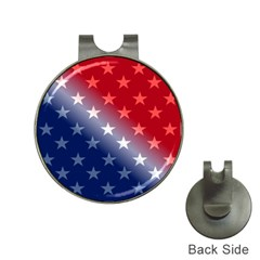 America Patriotic Red White Blue Hat Clips With Golf Markers
