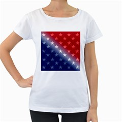America Patriotic Red White Blue Women s Loose Fit T Shirt (white)