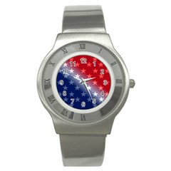 America Patriotic Red White Blue Stainless Steel Watch