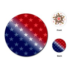 America Patriotic Red White Blue Playing Cards (round)
