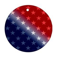 America Patriotic Red White Blue Round Ornament (two Sides)