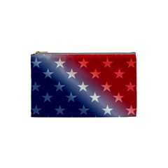 America Patriotic Red White Blue Cosmetic Bag (small)