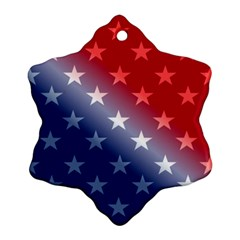 America Patriotic Red White Blue Snowflake Ornament (two Sides)