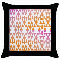 Geometric Abstract Orange Purple Throw Pillow Case (black)