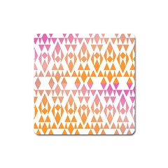 Geometric Abstract Orange Purple Square Magnet