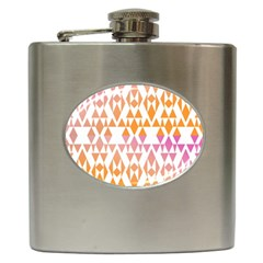 Geometric Abstract Orange Purple Hip Flask (6 Oz)