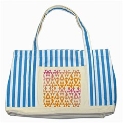 Geometric Abstract Orange Purple Striped Blue Tote Bag
