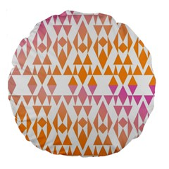Geometric Abstract Orange Purple Large 18  Premium Round Cushions