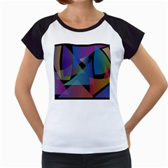 Triangle Gradient Abstract Geometry Women s Cap Sleeve T