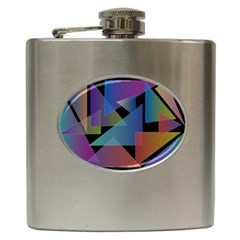 Triangle Gradient Abstract Geometry Hip Flask (6 Oz)
