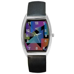 Triangle Gradient Abstract Geometry Barrel Style Metal Watch