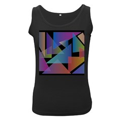 Triangle Gradient Abstract Geometry Women s Black Tank Top