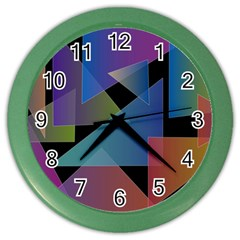 Triangle Gradient Abstract Geometry Color Wall Clocks