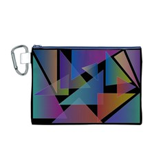 Triangle Gradient Abstract Geometry Canvas Cosmetic Bag (m)