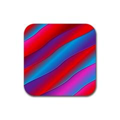 Diagonal Gradient Vivid Color 3d Rubber Square Coaster (4 Pack)