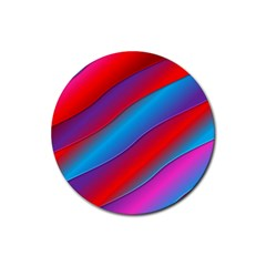 Diagonal Gradient Vivid Color 3d Rubber Round Coaster (4 Pack)