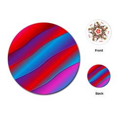 Diagonal Gradient Vivid Color 3d Playing Cards (round)