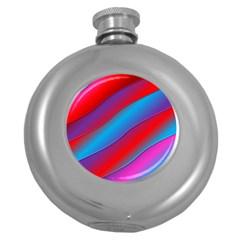 Diagonal Gradient Vivid Color 3d Round Hip Flask (5 Oz)