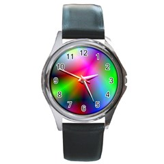 Course Gradient Background Color Round Metal Watch
