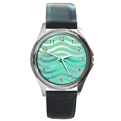 Abstract Digital Waves Background Round Metal Watch
