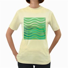 Abstract Digital Waves Background Women s Yellow T Shirt
