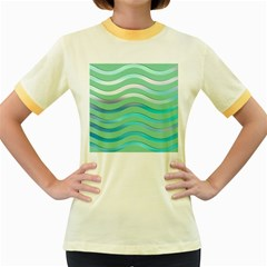 Abstract Digital Waves Background Women s Fitted Ringer T Shirts