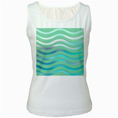Abstract Digital Waves Background Women s White Tank Top