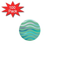 Abstract Digital Waves Background 1  Mini Buttons (100 Pack)