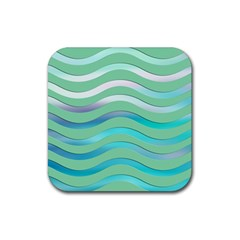 Abstract Digital Waves Background Rubber Square Coaster (4 Pack)