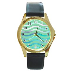 Abstract Digital Waves Background Round Gold Metal Watch