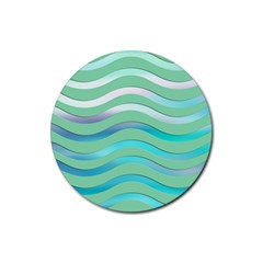 Abstract Digital Waves Background Rubber Round Coaster (4 Pack)