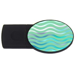 Abstract Digital Waves Background Usb Flash Drive Oval (2 Gb)