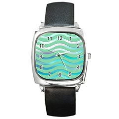 Abstract Digital Waves Background Square Metal Watch