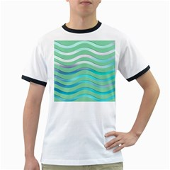 Abstract Digital Waves Background Ringer T Shirts