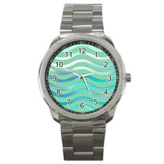 Abstract Digital Waves Background Sport Metal Watch
