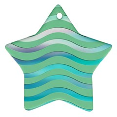 Abstract Digital Waves Background Star Ornament (two Sides)