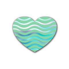 Abstract Digital Waves Background Rubber Coaster (heart)