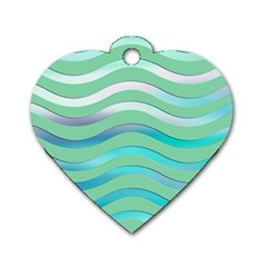 Abstract Digital Waves Background Dog Tag Heart (one Side)