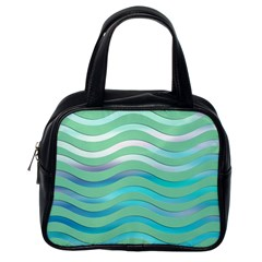Abstract Digital Waves Background Classic Handbags (one Side)