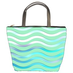 Abstract Digital Waves Background Bucket Bags