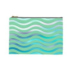 Abstract Digital Waves Background Cosmetic Bag (large)